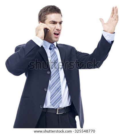 caucasian business person talking on cellphone, angry, furious, isolated on white background. - stock photo