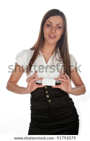 Caucasian business woman showing a business card, a beautiful young business lady holding card,  attractive girl holds a secretary, and shows the business card, white background