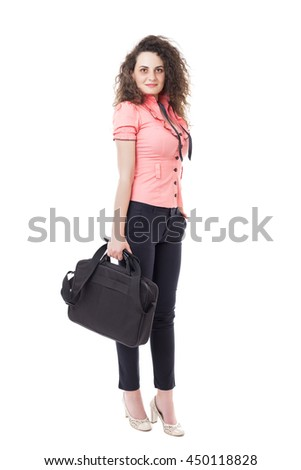 Caucasian business woman standing and holding her briefcase, full length portrait isolated on white background. - stock photo