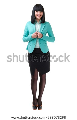 caucasian business woman standing, full length portrait isolated on white - stock photo