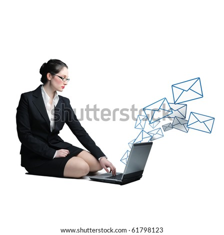 caucasian business woman use laptop to send email - stock photo