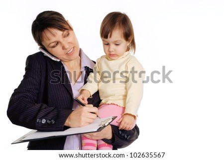 Caucasian business woman with a daughter in her arms on a white background