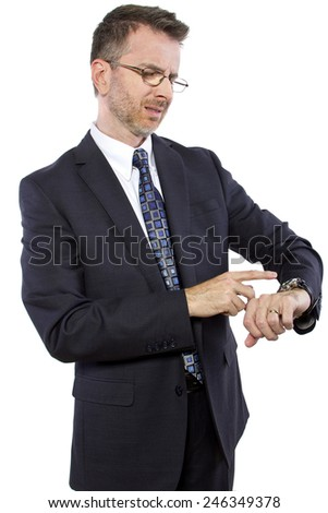 caucasian businessman confused by new smart watch technology - stock photo