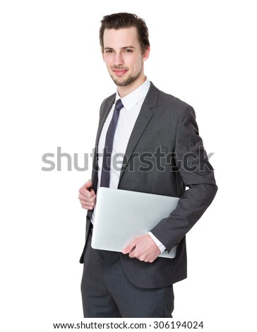 Caucasian businessman hold with laptop computer