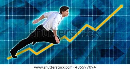 Caucasian Businessman Running with Chart Graph Background Art 3d Illustration Render - stock photo