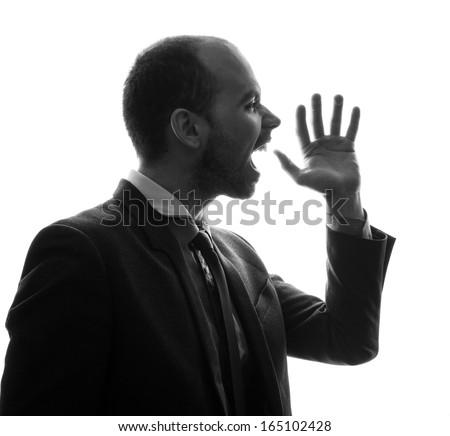 Caucasian businessman silhouette - stock photo