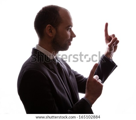 Caucasian businessman silhouette - stock photo