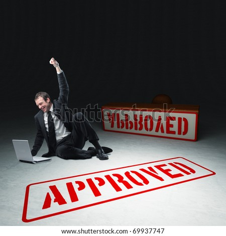 caucasian businessman with laptop and approved stamp 3d