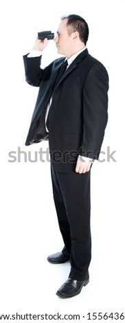 Caucasian businessman 40 years old isolated on a white background - stock photo