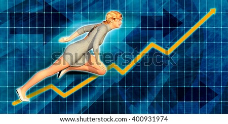 Caucasian Businesswoman Running with Chart Graph Background Art 3D Illustration