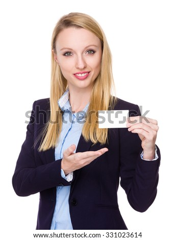 Caucasian Businesswoman show with blank name card