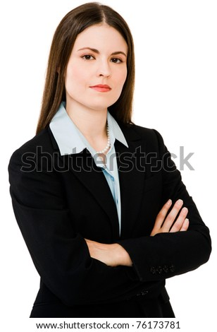 Caucasian businesswoman standing isolated over white - stock photo