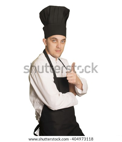 Caucasian chef boy looking at camera with a okay gesture - stock photo