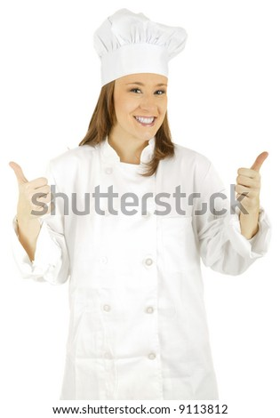 caucasian chef doing two thumbs up