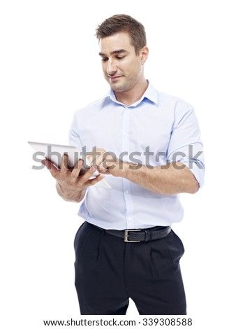 caucasian corporate executive with tablet computer, isolated on white background.