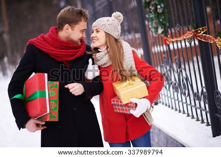 Caucasian couple with Christmas gift ready for Christmas