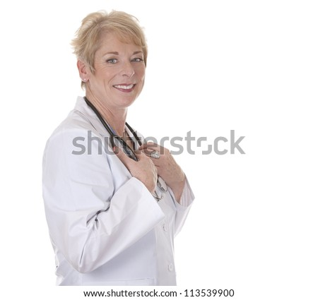 caucasian doctor is smiling on white isolated background