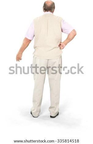 Caucasian elderly man with short grey hair in casual outfit with hands on hips - Isolated