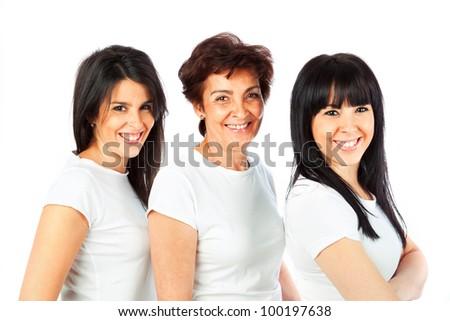 Caucasian Family Isolated on White - stock photo