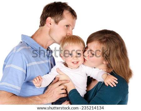 Caucasian family with mom dad and baby boy. Image is isolated on a white background. - stock photo