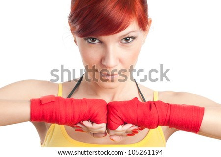 Caucasian female boxer posing on white background - stock photo