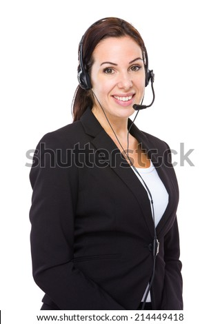 Caucasian female customer service - stock photo