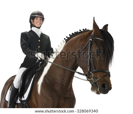 Caucasian female equestrian jockey with short dark brown hair in uniform holding animal - Isolated