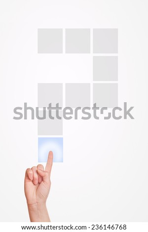 Caucasian female hand pressing touchscreen question mark with index finger. - stock photo