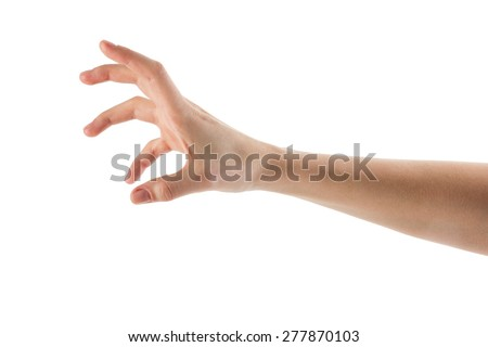 Caucasian female hand to grab objects, isolated on white