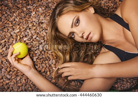 caucasian girl on a cocoa beans