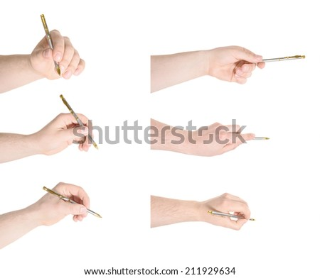 Caucasian hand holding a pen isolated over white background set of six foreshortenings - stock photo