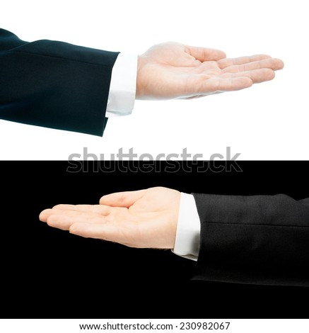 Caucasian hand in a business suit, opened palm gesture sign, set of two versions, isolated over the white and black background