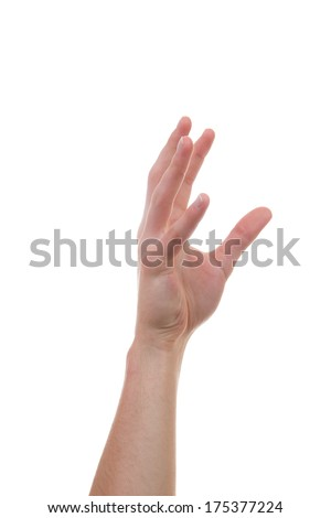 Caucasian hand reaching for another person or body part