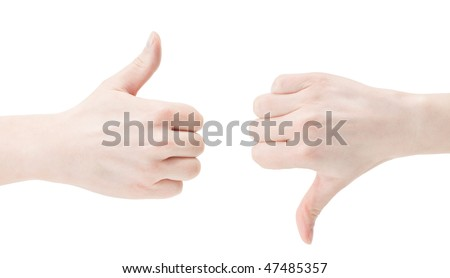 Caucasian hands with thumbs up and thumbs down. Isolated on white