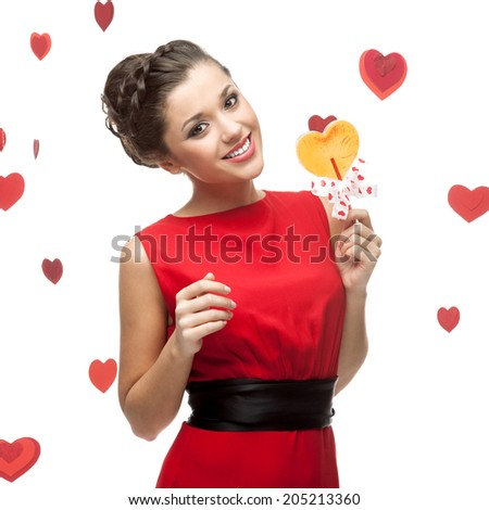 caucasian happy stylish young woman holding lollipop. isolated on white - stock photo