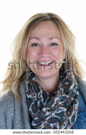 Caucasian lady posing in casuals isolated on white background.