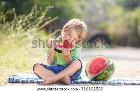 Caucasian little boy with blond hairs eating fresh watermelon in summer garden, outdoors. Kid eating red ripe watermelon - stock photo