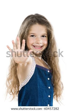 caucasian little girl portrait high-five salute isolated studio white background - stock photo
