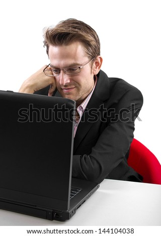 Caucasian male flirting online and isolated on a white background.