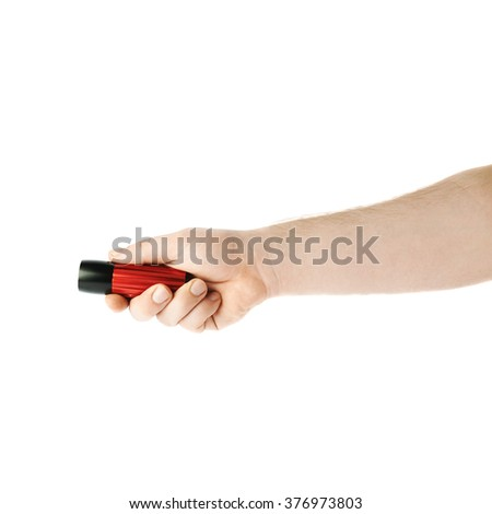 Caucasian male hand holding a , composition isolated over the white background