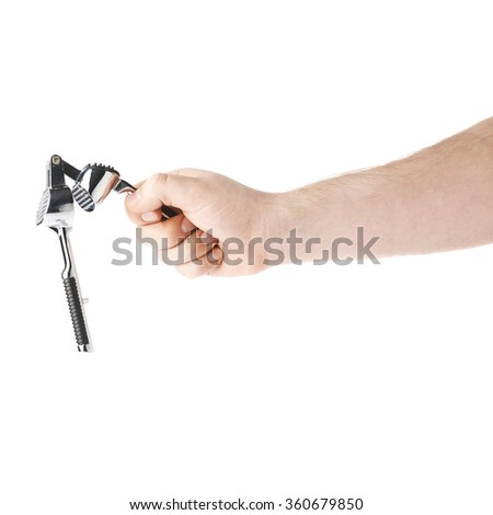 Caucasian male hand holding a garlic masher, composition isolated over the white background