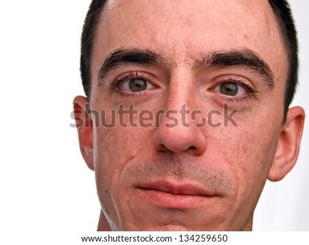 Caucasian Male Headshot - Extreme Closeup - stock photo