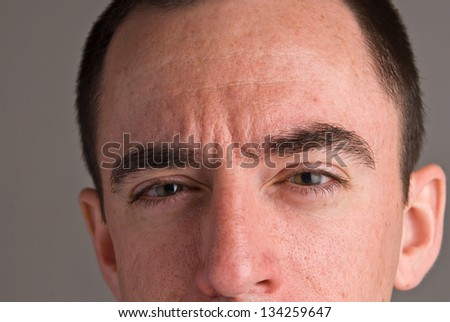 Caucasian Male Headshot - Extreme Closeup from Nose to Forehead