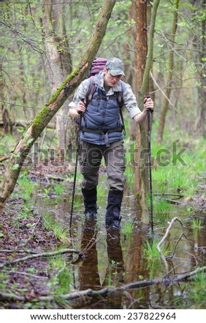 Caucasian male,hiker in the boggy forest walking with poles - stock photo