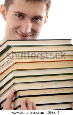 Caucasian male person with books on isolated background