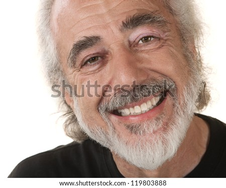 Caucasian male with big grin on isolated background - stock photo