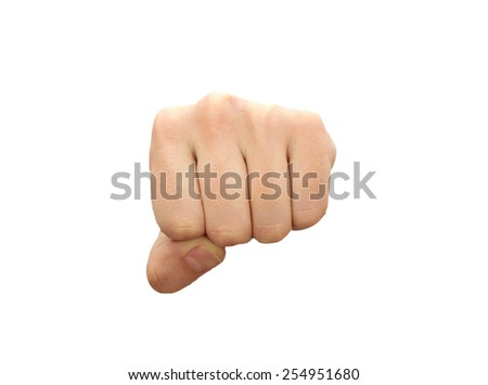 Caucasian man fist isolated on white background - stock photo