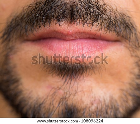 Caucasian man Goatee closeup, focus on mustache