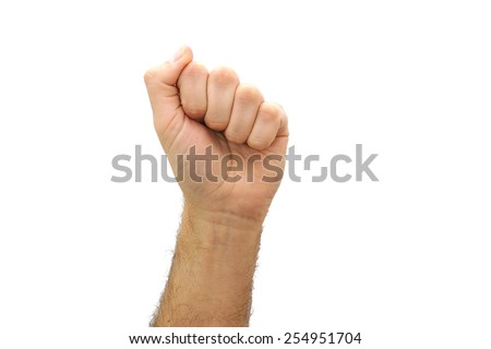 Caucasian man hand fist gesture isolated on white background. Communism concept