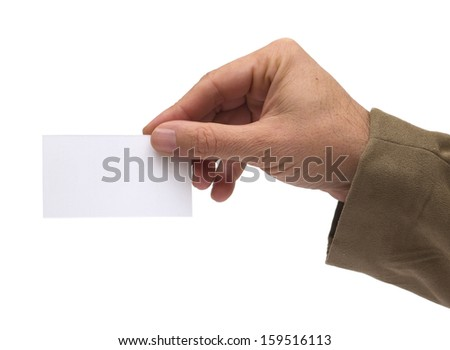 caucasian man hand holding a blank business card